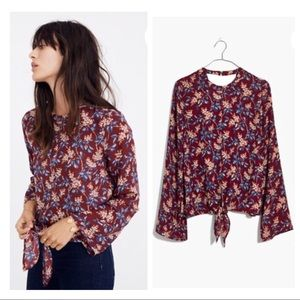 nwt madewell • bell-sleeved tie top antique flora